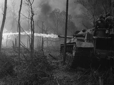 US Marine Flame Tanks Burn 'No-Name Village', Quang Ngai Province, Vietnam, 1969