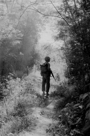 US Marine Walking Point for His Unit, Finding a Safe Path, Vietnam War, 1966