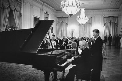 President Truman Plays the White House Piano a Eugene List Waits His Turn, 1961