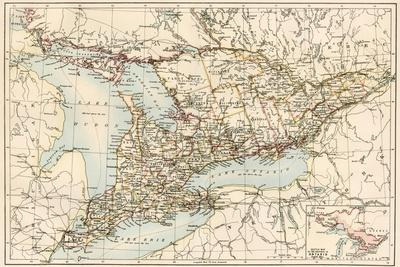Map of Ontario, Canada, 1870s
