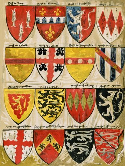 Shields Of English Knights And Barons Painted During The