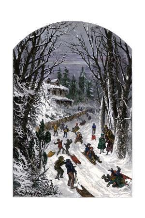 Sledding Down a Snowy Village Road, 1800s