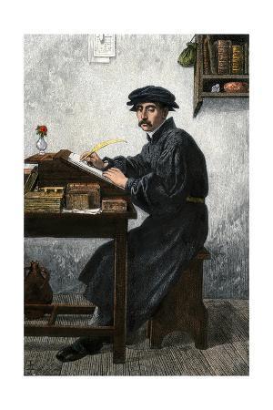 Scholar Using a Quill Pen