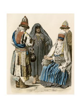 Muslim Dervish and Turkish Women in their Native Attire