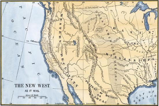 Map Of Us 1800s.Map Of The Western Frontier In The United States 1800s Giclee Print