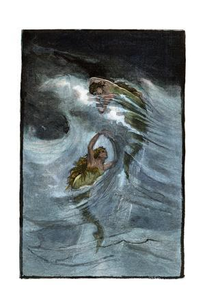 "Two Mermaids Playing in the Waves, ""A Nixie's Legend"""
