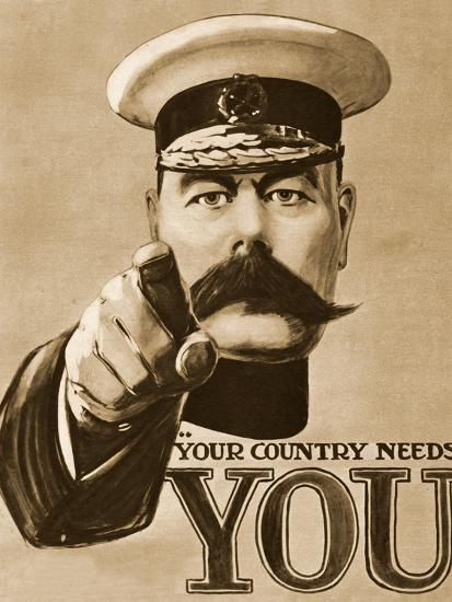 1910s Uk Your Country Needs You Recruitment Poster Giclee