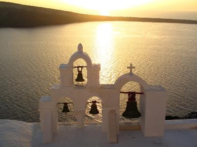 Sunset On the Aegean Sea, Behind a Set of Church Bells