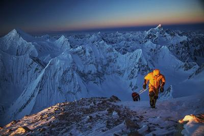 Mountaineers On 26,360-foot Gasherbrum II At Sunset