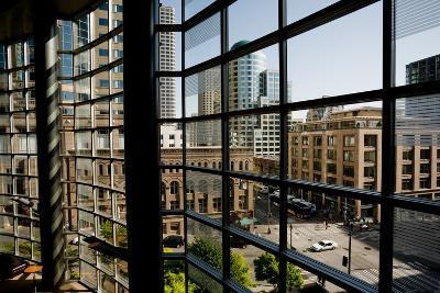 Seattle Skyscrapers As Seen Through a Window in Benaroya Hall