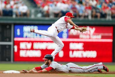 Philadelphia, PA - July 11: Chase Utley and Bryce Harper