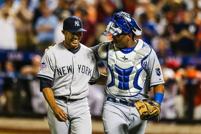 New York, NY - July 16: American League All-Star Mariano Rivera and Salvador Perez