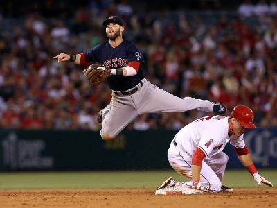 Anaheim, CA - July 05: Los Angeles Angels of Anaheim v Boston Red Sox, Dustin Pedroia & Mike Trout