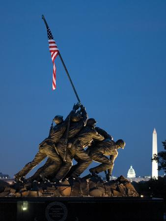 Iwo Jima Memorial at Dusk with the Capitol and Washington Monument