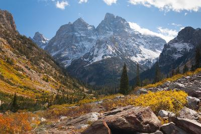 A High Canyon in Fall Foliage and Early Snow, and Snow Covered Peaks