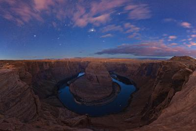 Sirius, Orion, and Taurus's Stars Over Horseshoe Bend in Dawn's Light