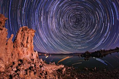 A Moonlit Time Exposure Sky's Rotation Around the Star Polaris
