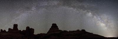 The Full Milky Way Over the Silhouetted Windows Section of Arches National Park