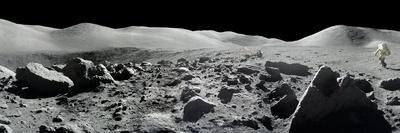 An Apollo 17 Composite Photograph at Station 5 Shows a Stretch of Rock-strewn Moon Features