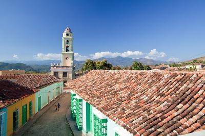 A Roof Top View of Colorful Buildings and the Bell Tower of Museo Nacional De La Lucha Bandidos