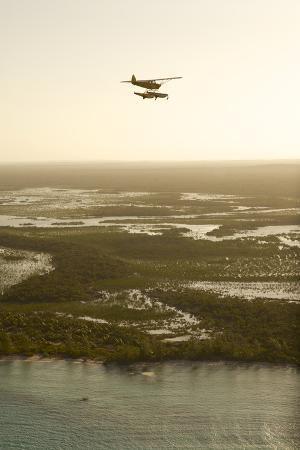 A PA18 Super Cub Floatplane Exploring Cat Island