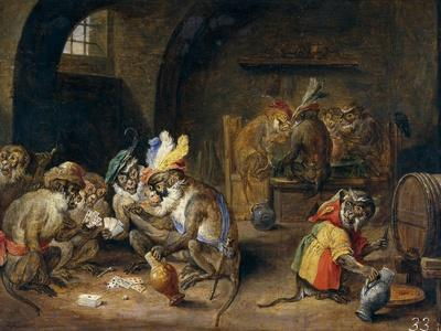 Monos En Una Bodega, 17th Century, Flemish School