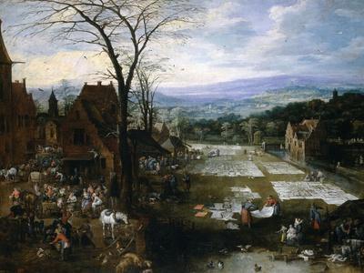 Flemish Market And Washing Place, Ca. 1620, Flemish School
