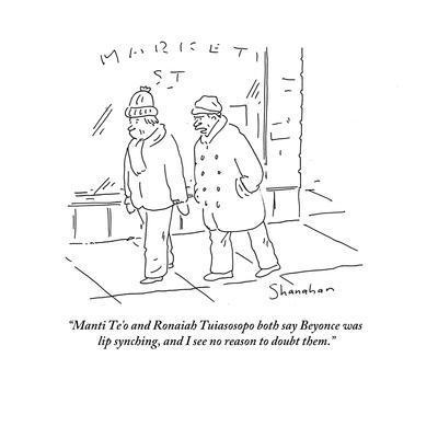 """""""Manti Te'o and Ronaiah Tuiasosopo both say Beyonce was lip synching, and …"""" - Cartoon"""