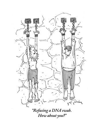 """Refusing a DNA swab. How about you?"" - Cartoon"