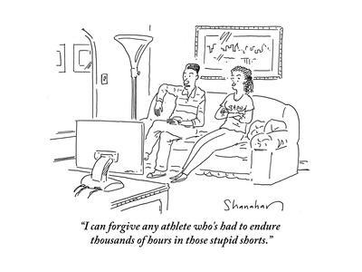 """""""I can forgive any athlete who's had to endure thousands of hours in those…"""" - Cartoon"""