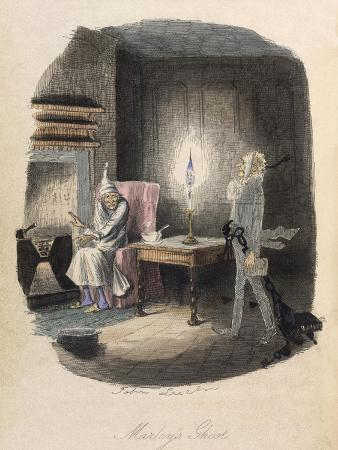 Marley's Ghost. Ebenezer Scrooge Visited by a Ghost