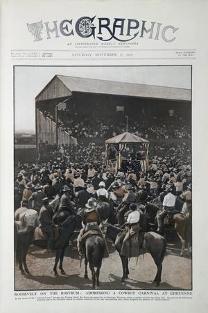 Coloured Photograph Of Roosevelt Addressing a Cowboy Carnival at Cheyenne