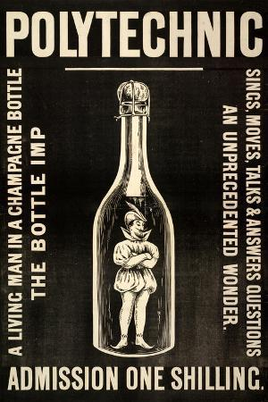 A Living Man in a Champagne Bottle. the Bottle Imp