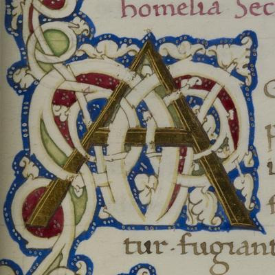 An Alphabet Initial Ornamental Letter From a Religious Text a Life Of Christ Beati