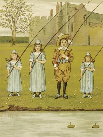 Three Girls and One Boy Fishing. Colour Illustration From 'At Home'