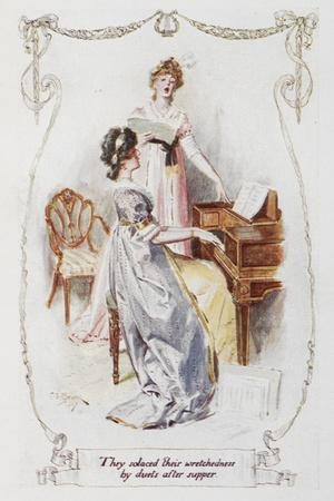 They Solaced Their Wretchedness by Duets After Supper'. Illustration To 'Pride and Prejudice'