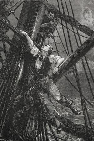 Passepartout Climbing the Mast Of a Ship. Illustration To the Novel