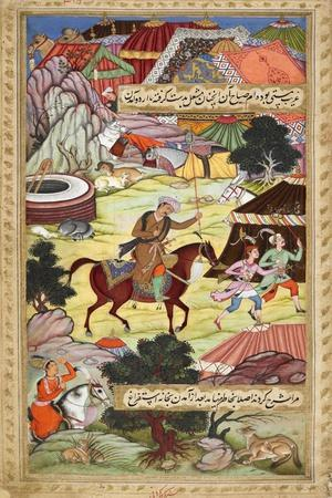 Babur Carrying a Torch Riding Drunk Through the Camp After a Celebration Party On a Boat (1519)