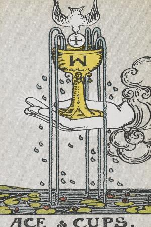 Tarot Card With a Hand Holding a Gold Cup Over a Pond. a White Bird Flies Into the Cup