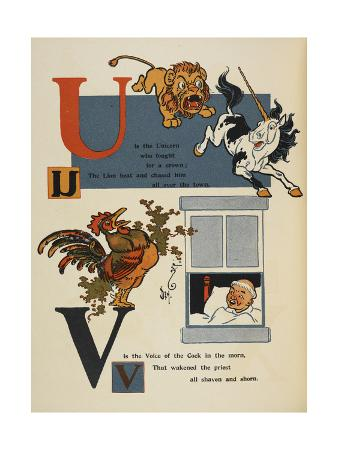 Alphabet Page: U and V. the Unicorn and Lion. the Cockerel Waking a Priest
