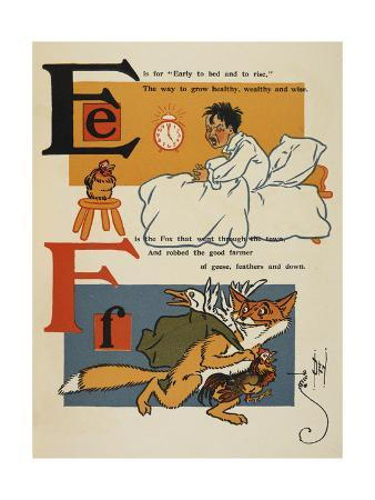 Alphabet Page: E and F. a Young Boy, Early To Bed. a Thieving Fox