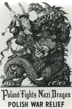 Poland Fights Nazi Dragon Polish War Relief WWII Military Propaganda Poster