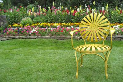 Santa Fe Flower Garden with Vintage Yellow Chair