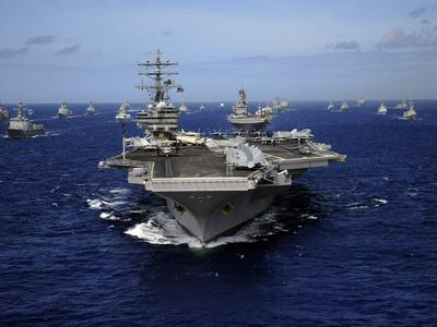 Aircraft Carrier USS Ronald Reagan Leads a Mass Formation of Ships Through the Pacific Ocean