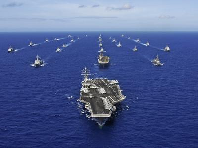 Aircraft Carrier USS Ronald Reagan Transits the Pacific Ocean with a Fleet of Ships