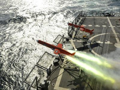 A BQM-74E Aerial Drone Launches from the Guided-missile Frigate USS Thach