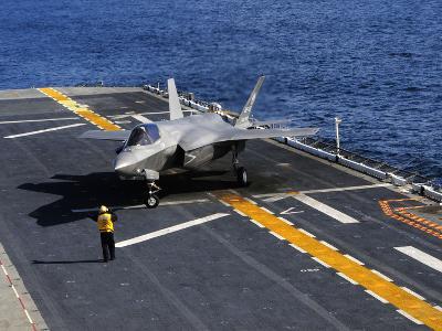 An F-35B Lightning II Makes a Vertical Landing On the Flight Deck of USS Wasp