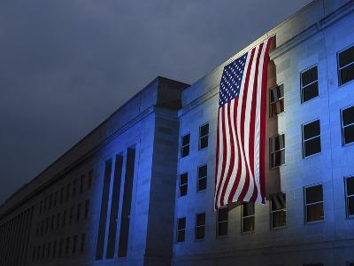 A Memorial Flag Is Illuminated On the Pentagon
