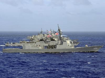 JDS Atago Sails in Formation with U.S. Navy And Japan Maritime Self Defense Force Ships