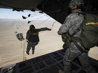 U.S. Airmen Jump from a C-130 Hercules Aircraft Over Nevada